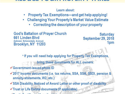 Ways to Reduce Property Taxes Seminar Sat 9/29