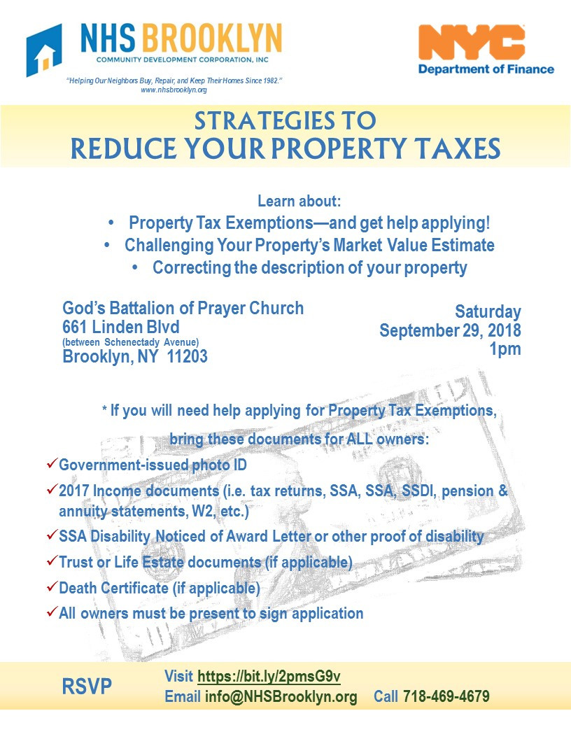 NHS Brooklyn NYC Department of Finance Reduce Property Taxes Seminar October 2018