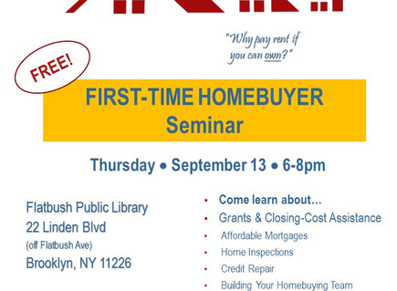 First-Time Home Buyer Seminar 9/13