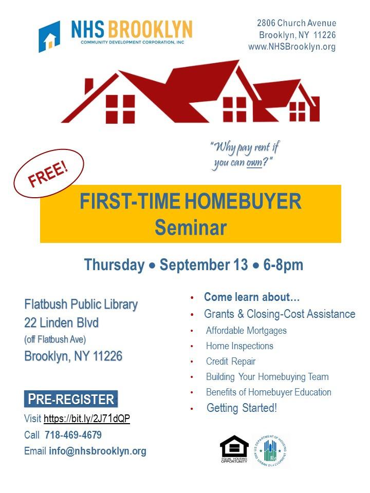 First Time Home Buyer Seminar NHS Brooklyn September 2918
