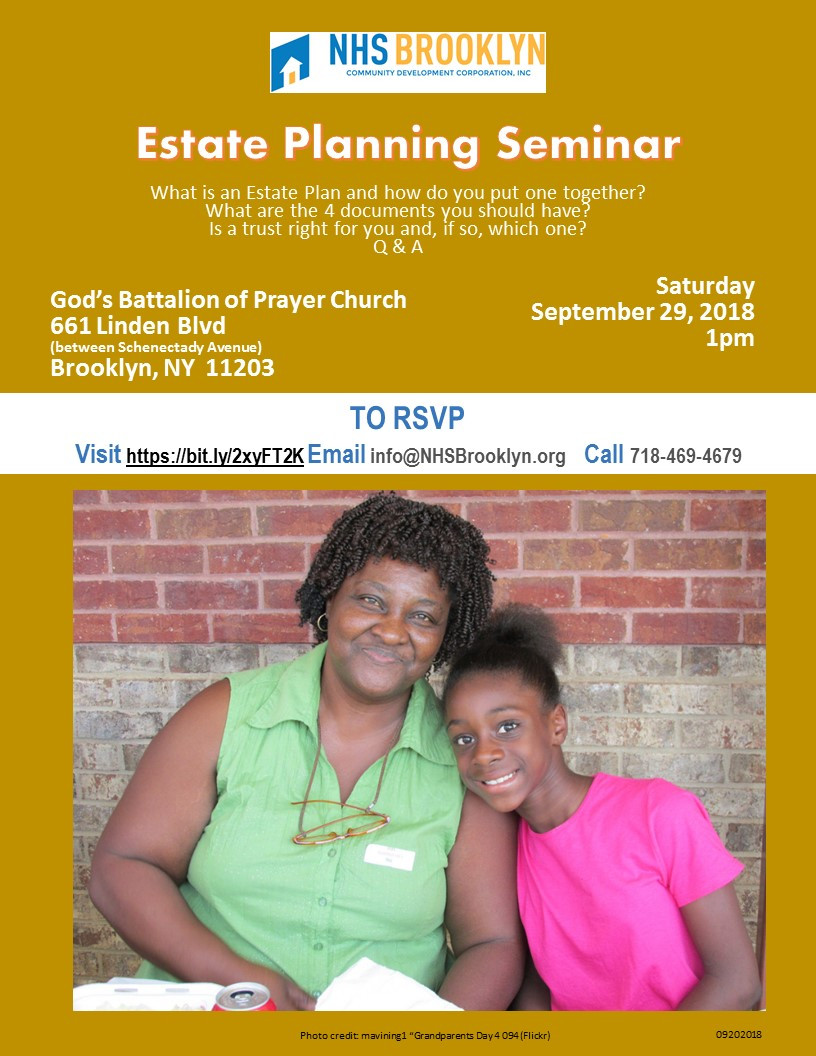 Estate Planning Seminar NHS Brooklyn Housing Resource Fair October 2018