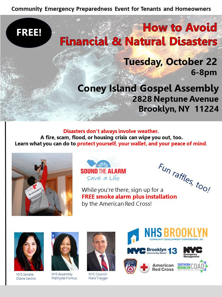 emergency preparedness avoid financial and natural disasters october 2019 coney island gospel assembly nhs brooklyn nyc savino frontus treyger red cross fdny sbcoad nycem