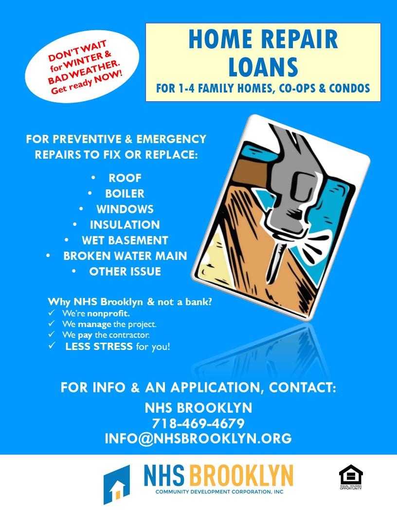 nhs brooklyn nyc home repair loans emergency repairs maintenance roof boiler windows insulation wet basement broken water main help assistance 2019