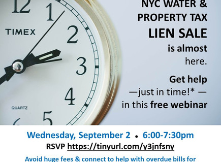 TONITE at 6! Lien Sale help for property tax, water, repair bills