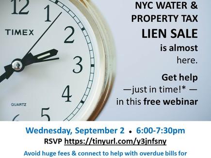 TONITE at 6! Lien Sale help for property tax, water, repair bills