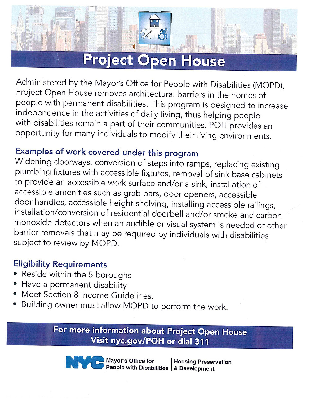 Flyer on Project Open House from NYC Mayor's Office for People with Disabilities (MOPD)