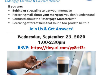 Foreclosure: Know Your Rights and Options (9/23 webinar)
