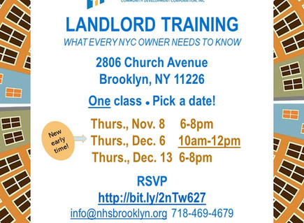 Landlord Training Now Offered AM & PM