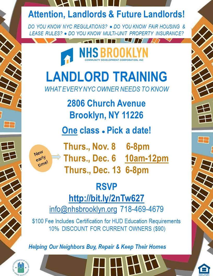 landlord training class NHS Brooklyn East Flatbush loans grants NACA