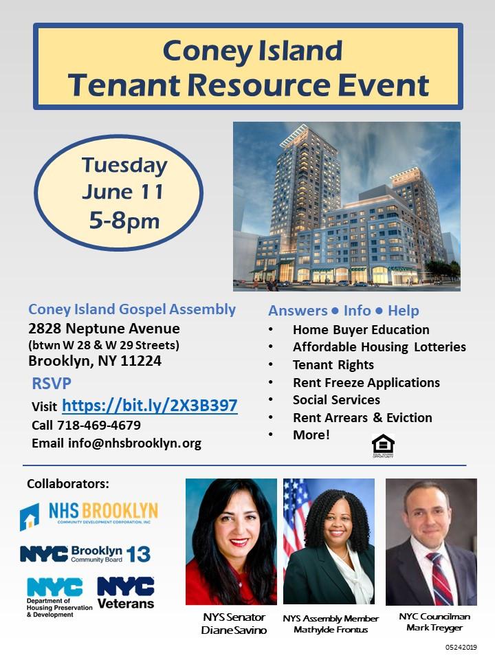 NHS Brooklyn Coney Island Gospel Assembly Tenant Resource Event June 2019