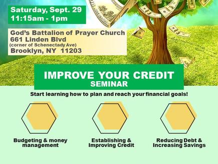 Improve Your Credit Seminar Sat 9/29
