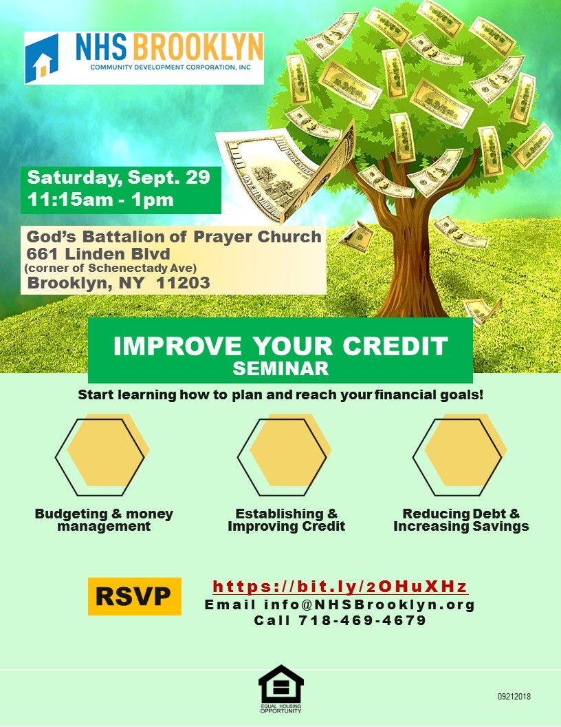 Credit improvement seminar NHS Brooklyn Housing Resource Fair October 2018