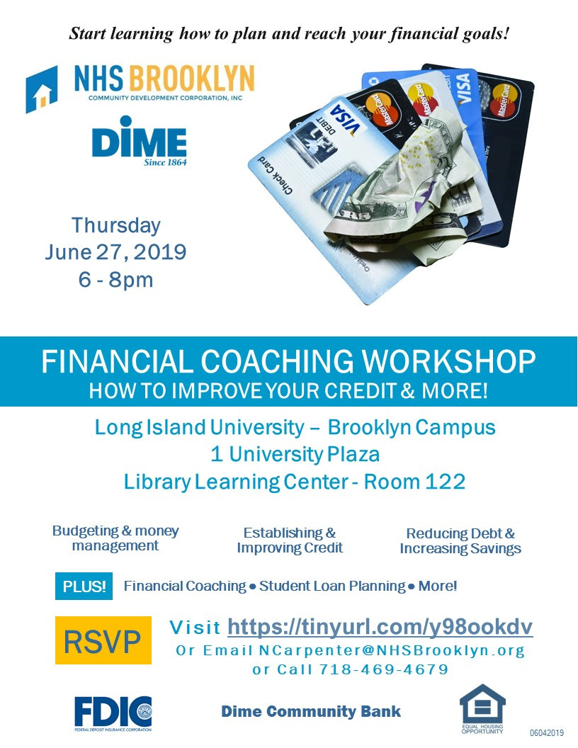 credit score improvement repair financial coaching workshop nhs brooklyn nyc Dime Community Bank LIU Long Island University 2019