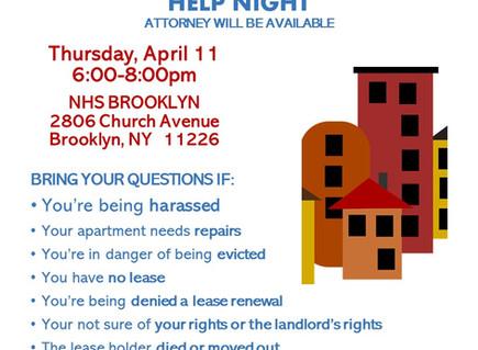Tenant Issues Help Night 4/11 6-8pm (East Flatbush)