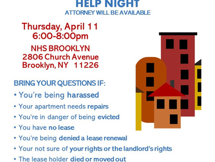 Tenant Issues Help Night 4/11 6-8pm (East Flatbush)