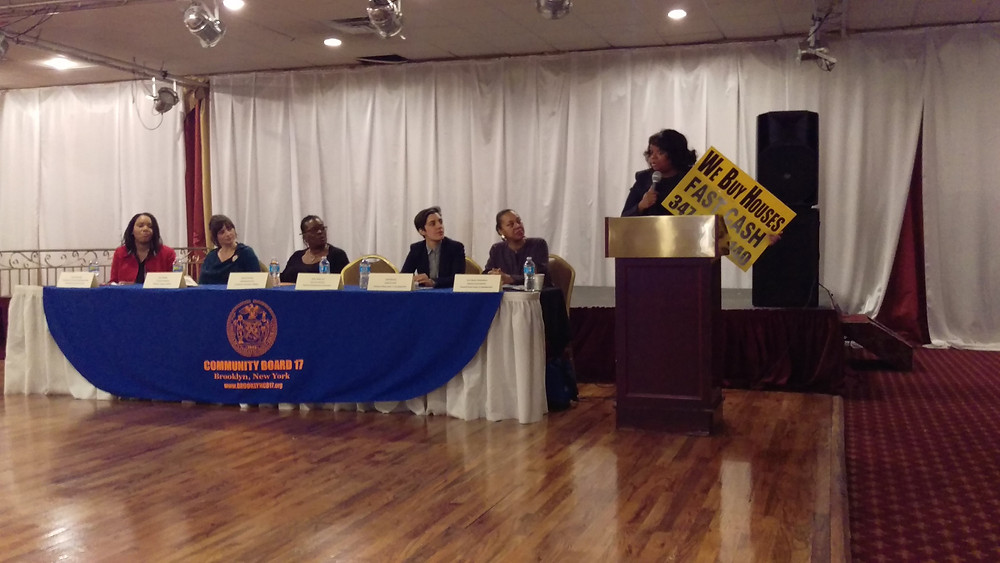 Tonya Ores, Executive Director of NHS Brooklyn, on the panel at CB 17's Housing and Land Use Committee's Breakfast 2017. (Photo by Hassan Bakridden)