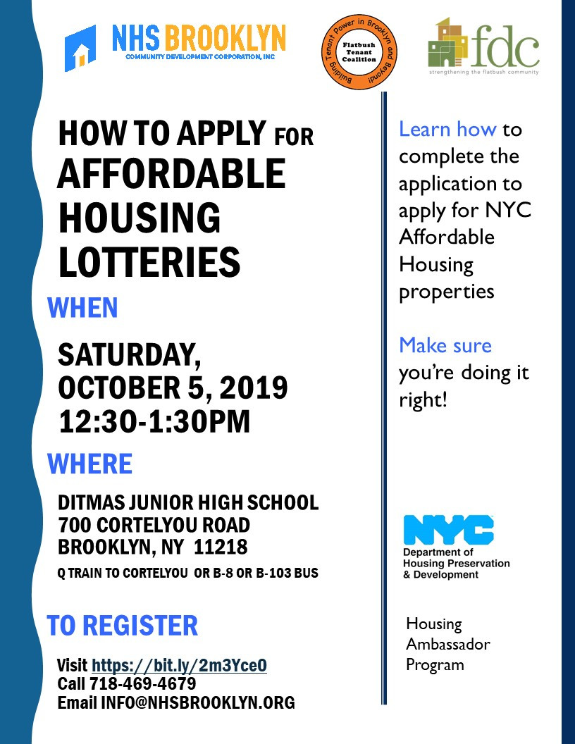 affordable housing lotteries application nhs brooklyn fdc ftc tenants nyc housing fair robert carroll 2019