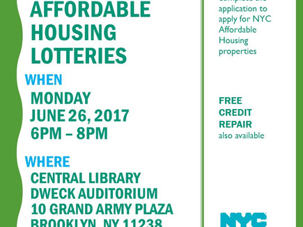 How to Apply for Affordable Housing Lotteries & Free Credit Repair - Mon. June 26 6-8pm at Centr