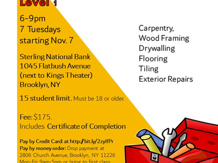 Home Maintenance Course Starts 11/7