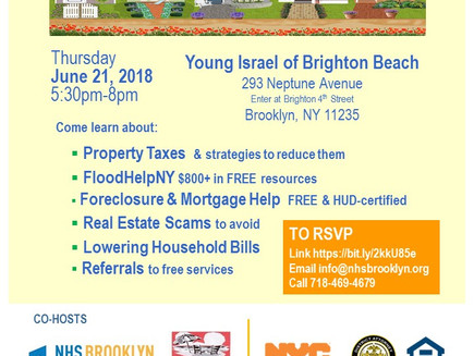 Homeowner Resource Event in Brighton Beach Thurs 6/21