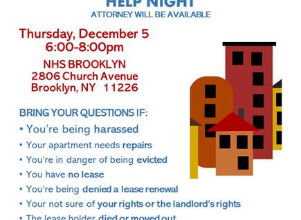 Tenant Help Night 12/5 6-8pm (East Flatbush)