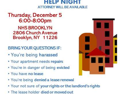 Tenant Help Night 12/5 6-8pm (East Flatbush)