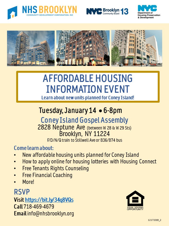 Affordable Housing Info Event NHS Brooklyn NYC CB13 HPD 2020