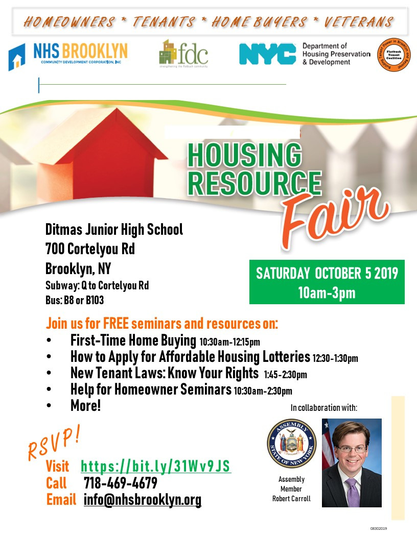 Affordable Housing Resource Fair NHS Brooklyn NYC 2019 FDC Robert Carroll
