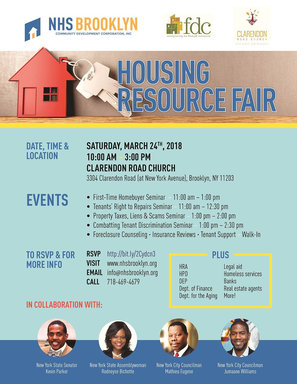 housing resource fair, NHS, Brooklyn, FDC, Clarendon Road Church