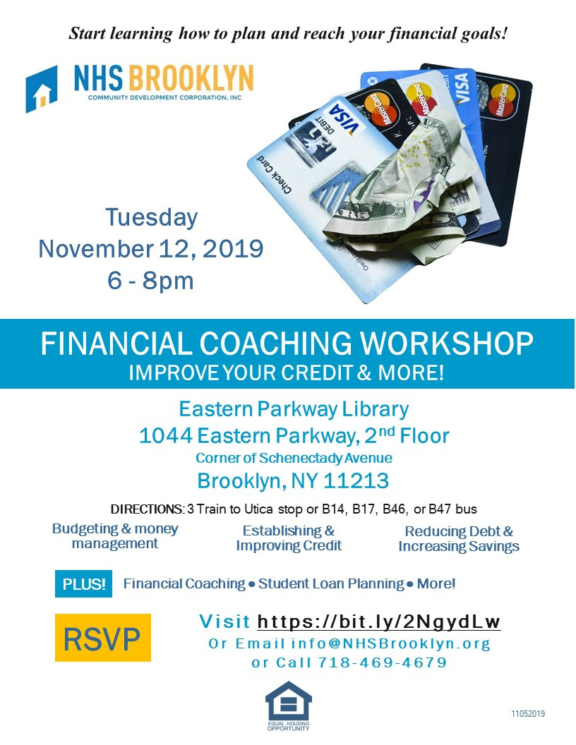 financial literacy coaching credit improvement workshop nhs brooklyn nyc eastern parkway public library 2019