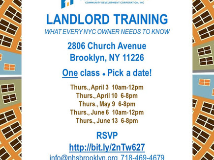 Landlord Training: Seats left for upcoming AM and PM classes