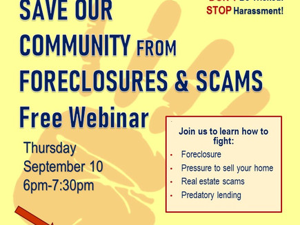 TONIGHT at 6pm! Don't lose your home to foreclosure or scams!