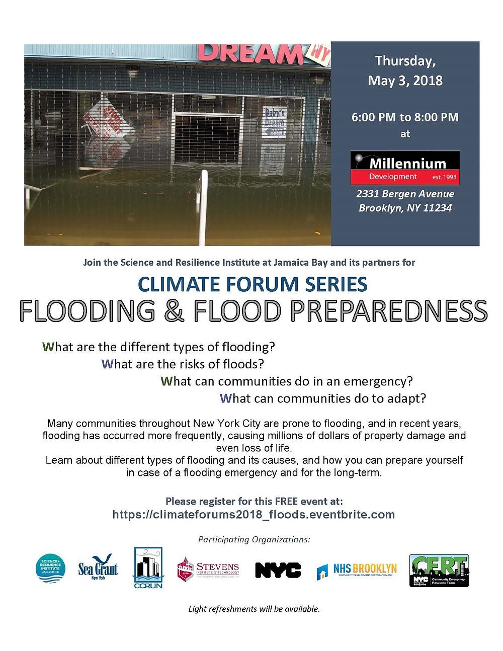 flood, flooding, flood preparedness, FEMA, flood insurance, 11234, Brooklyn, NHS, NHS Brooklyn, Millennium, Bergen Beach, 2018, resiliency, Sandy, hurricane