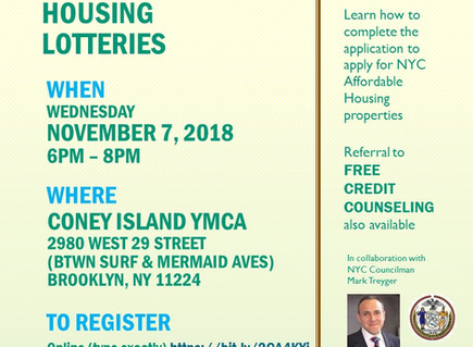 Homeowner and Tenant Events in Coney Island this month!