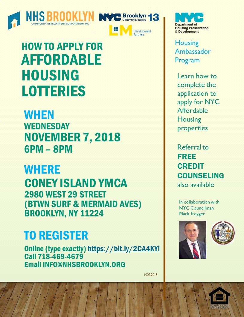 Flyer for Coney Island seminar Nov 7 2018 on Applying for Affordable Housing Lotteries