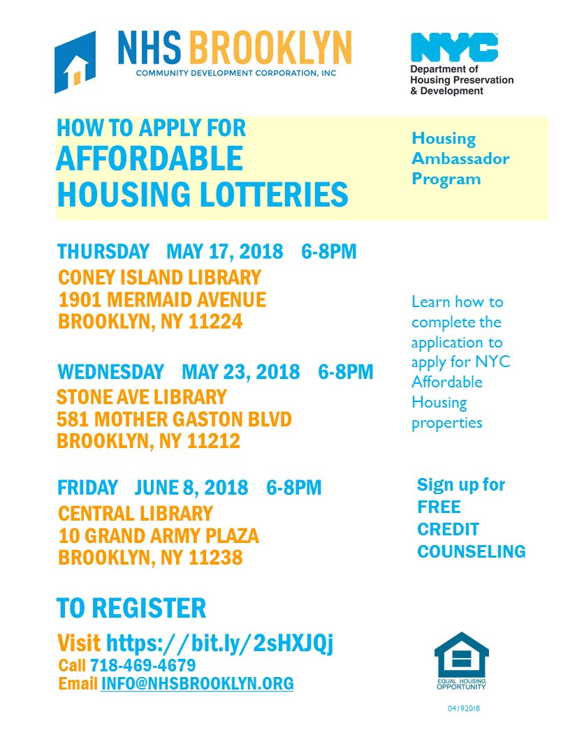 affordable housing, lottery, housing connect, nhs, nhs brooklyn, brooklyn, coney, gaston, library 2018