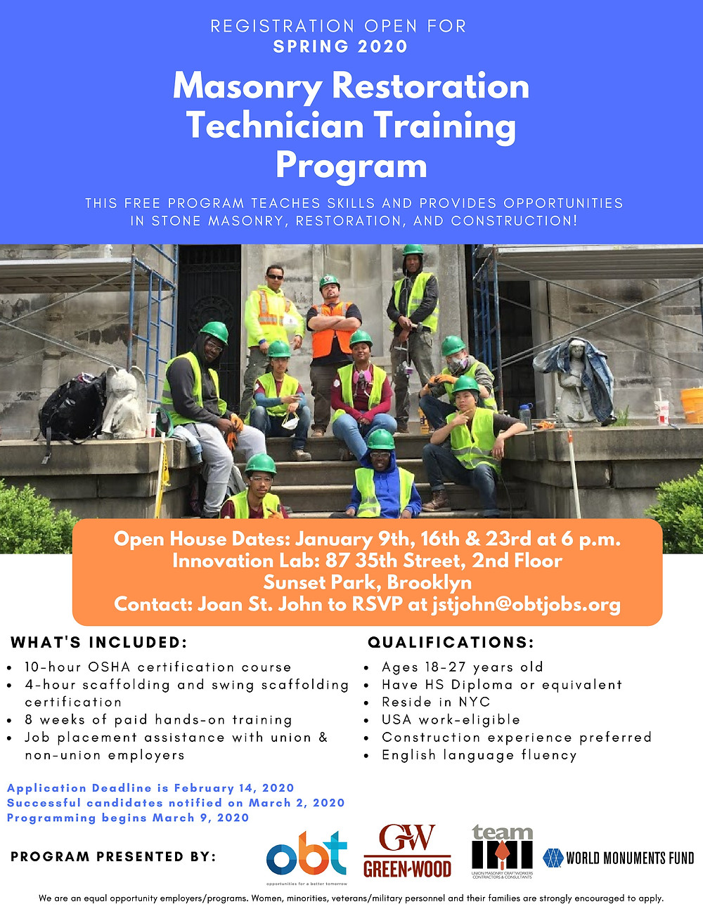 masonry training free march 2019 nhs brooklyn nyc open house