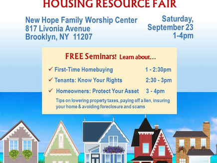 Housing Resource Fair on Sat 9/23 1-4pm