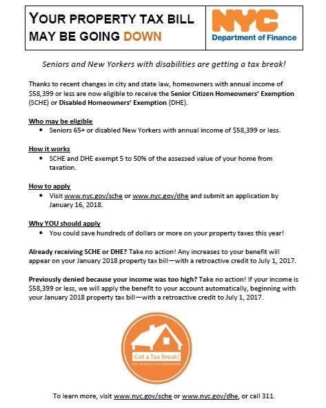 nyc, property tax, exemption, senior, SCHE, disabled, disabilities, DHE, 2017, 2018, homeowners