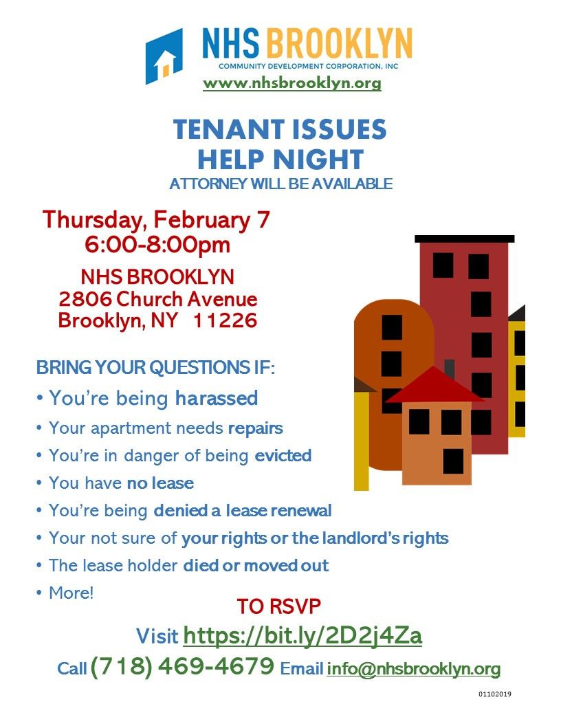 Tenant Issues Help Night Attorney Will Be Available NHS Brooklyn 2019