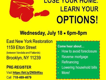 Don't Lose Your Home! Mortgage Help Event (East New York)