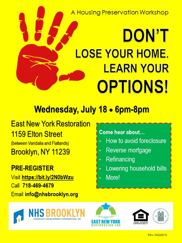 Foreclosure Prevention Event in East NY July 2018 with NHS Brooklyn