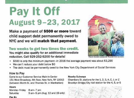 Get Help Paying NYC Child Support Thru 8/23