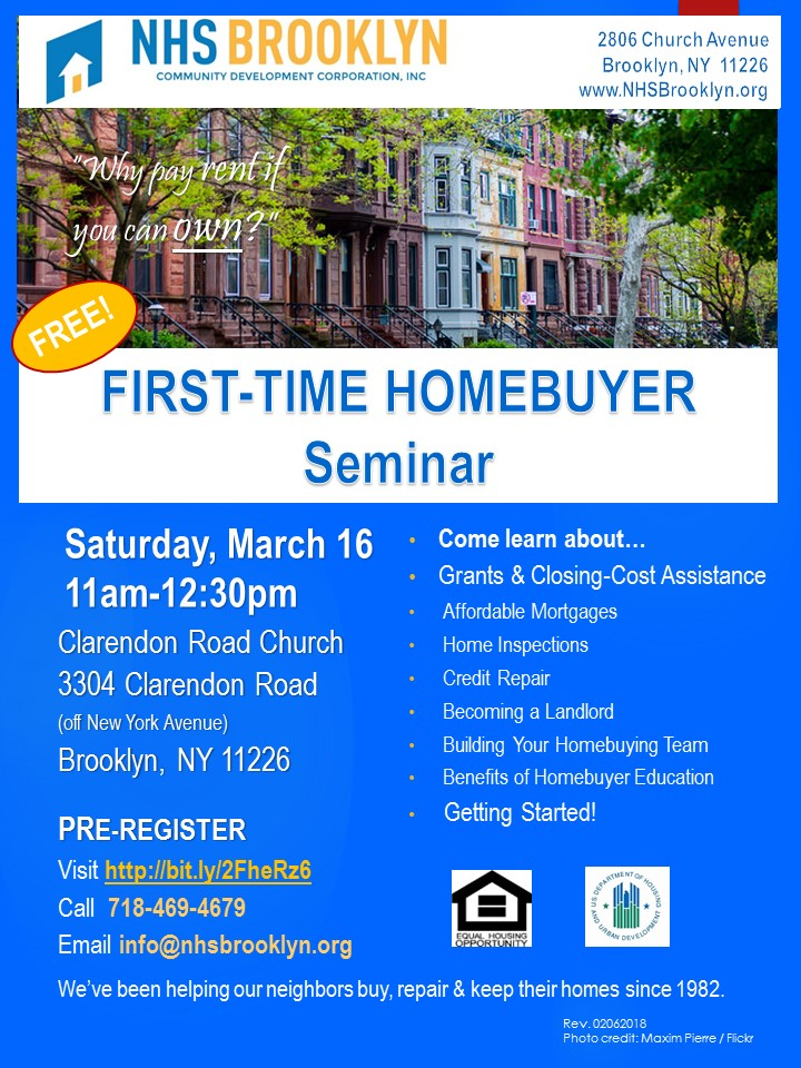 First Time Home Buyer Seminar East Flatbush Nhs Brooklyn