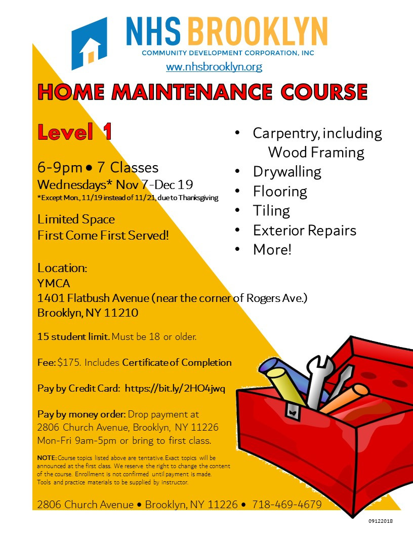 home maintenance, home repairs, carpentry, tiling, class, course, YMCA, Brooklyn, NHS