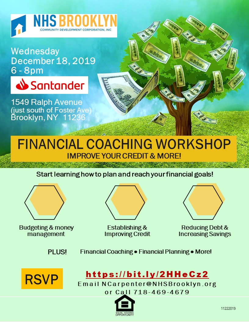 Financial Coaching Workshop NHS Brooklyn NYC Canarsie Santander 2019