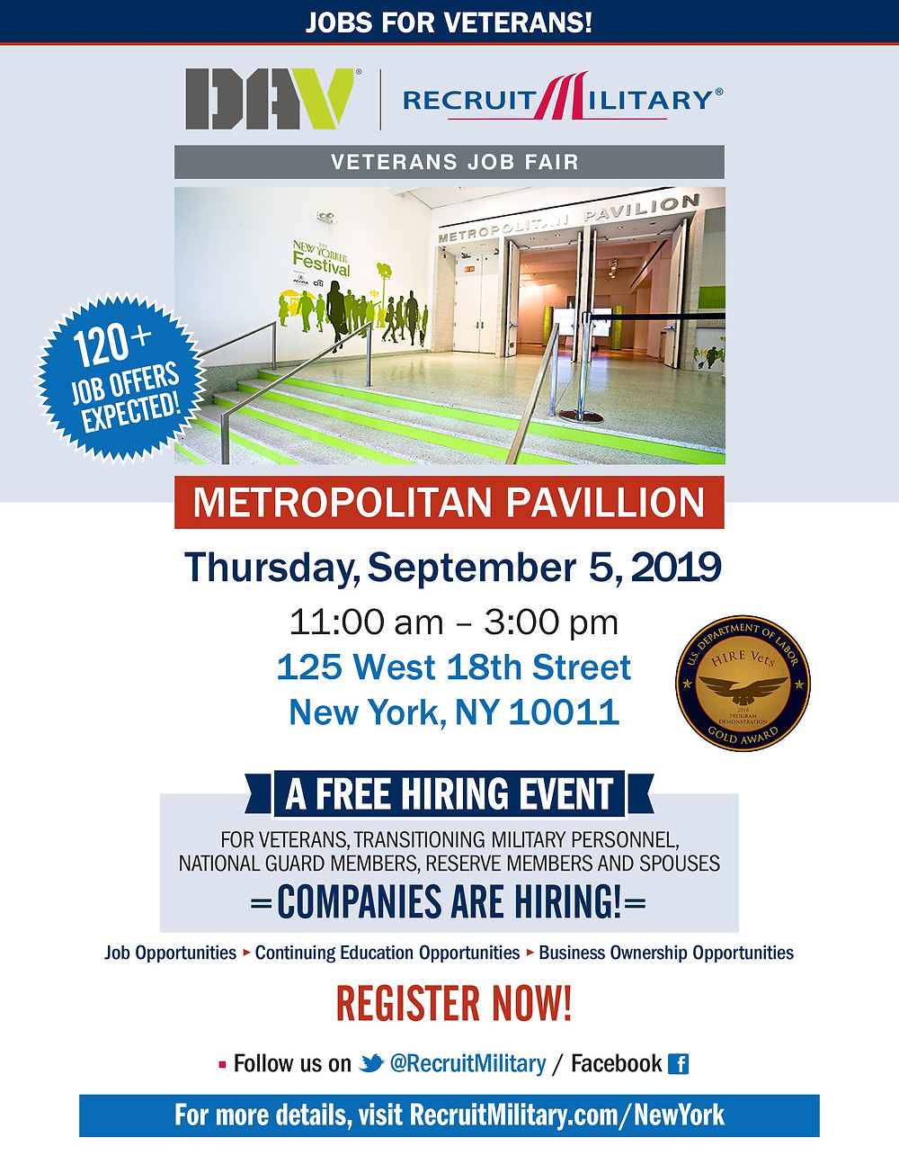 veterans job fair metropolitan pavillion nhs brooklyn nyc free military 2019