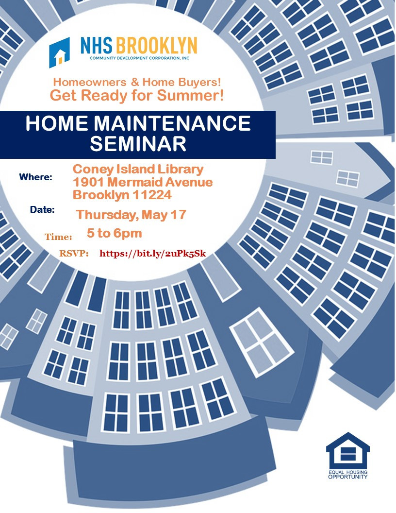 Free Home Maintenance Seminar at Coney Island Library May 17 2018