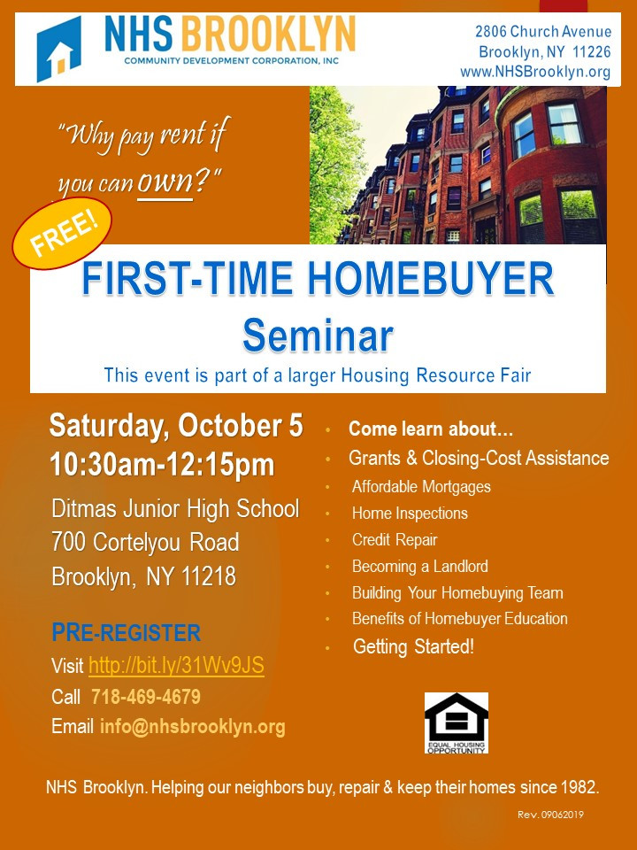 first time home buyer seminar nhs brooklyn nyc grants 2019