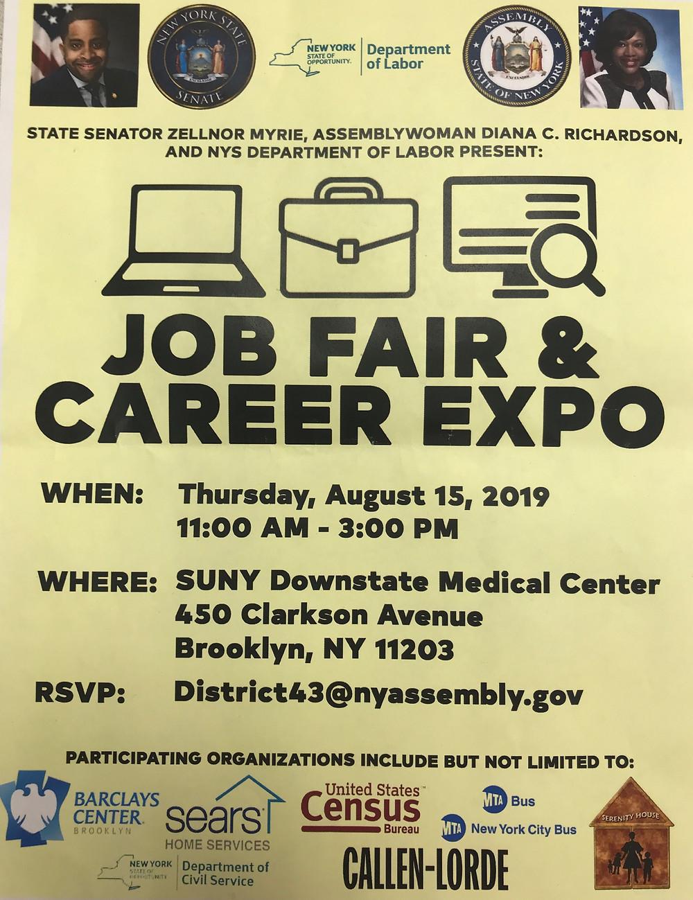 Job Fair Senator Zellnor Myrie Assemblywoman Diana Richardson NYS Department of Labor Job Fair and Career Expo NHS Brooklyn NYC 2019